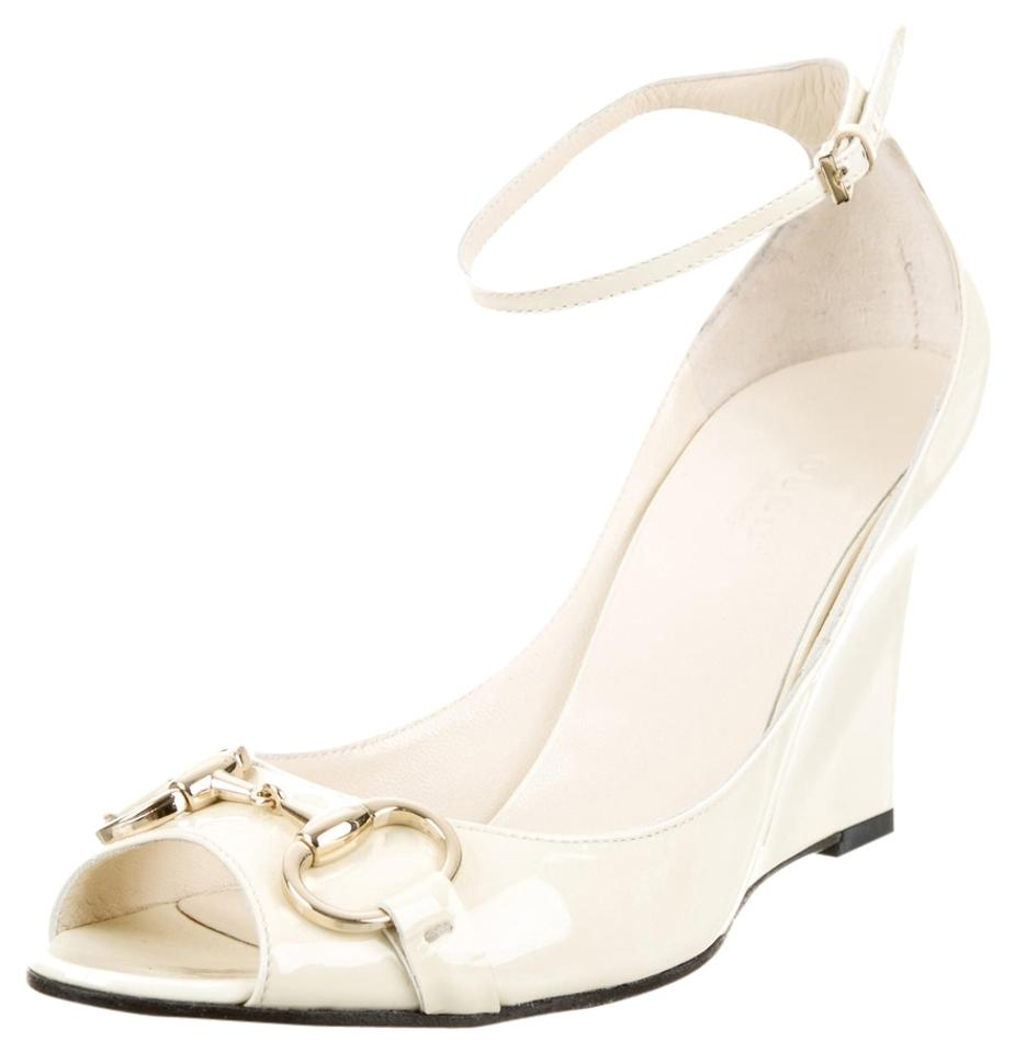 08897255dae Gucci Ivory White Horsebit Creme Patent Leather Buckle Peep-toe Wedges New  37.5 Pumps
