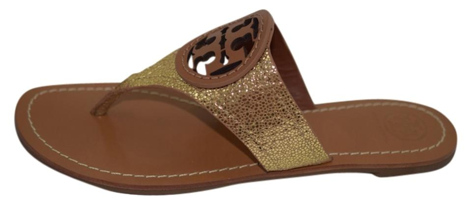 Tory Burch Leather Gold/Tan Louisa Flat Thong Leather Burch Sandals 54c1ac
