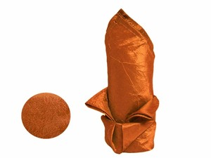 Lot Orange Taffeta Crinkle Napkins