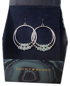 Lucky Brand Silver & Turquoise Hoops