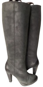 Calvin Klein Selma Distressed Gray Over Black Boots