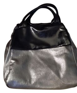Monserat De Lucca Leather Satchel in Silver & Black Patent