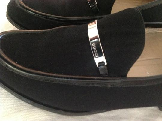 Gucci Black Canvas & Leather Flats