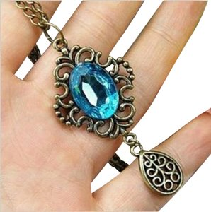 Other New Hollow Retro Blue Rhinestone Long Necklace