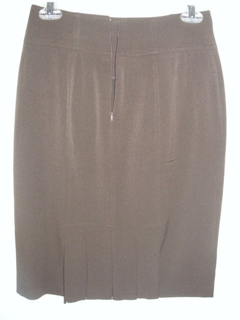 Grace Elements Pencil Mad Men Tailored Fitted Stretch Skirt Brown Image 1