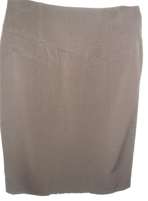 Grace Elements Pencil Mad Men Tailored Fitted Stretch Skirt Brown