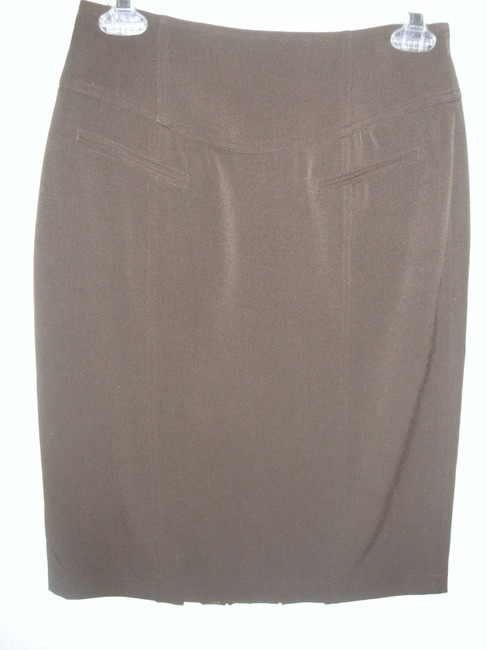 Grace Elements Pencil Mad Men Tailored Fitted Stretch Skirt Brown Image 4