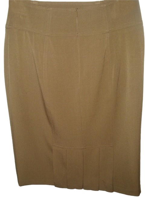 Grace Elements Fitted Tailored Pencil Pleated Sexy Skirt Taupe