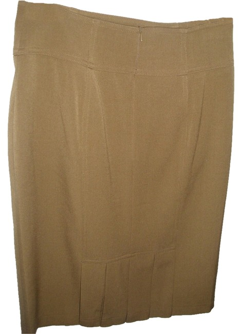 Grace Elements Fitted Tailored Pencil Pleated Sexy Skirt Taupe Image 1