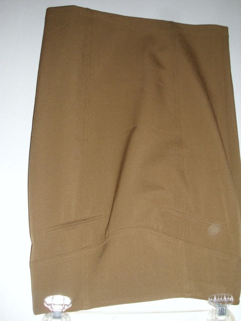 Grace Elements Fitted Tailored Pencil Pleated Sexy Skirt Taupe Image 2