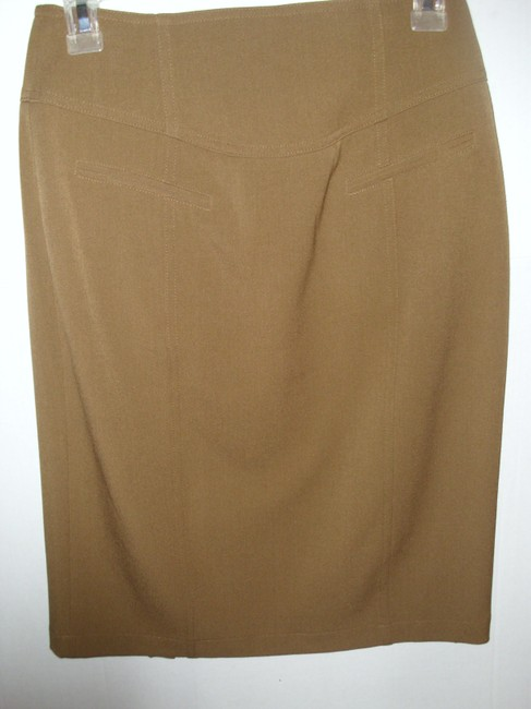 Grace Elements Fitted Tailored Pencil Pleated Sexy Skirt Taupe Image 3
