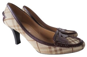 Burberry Penny Loafer High Heel Brown Plaid Pumps