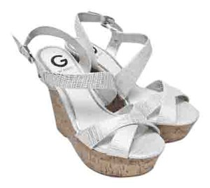 Guess White and Cork Wedges