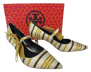 Tory Burch Stripe Bow Heel Mary Jane Multi Pumps