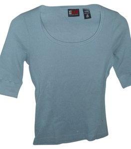 New York Jeans Company Seersucker Cotton Pullover T Shirt Blue