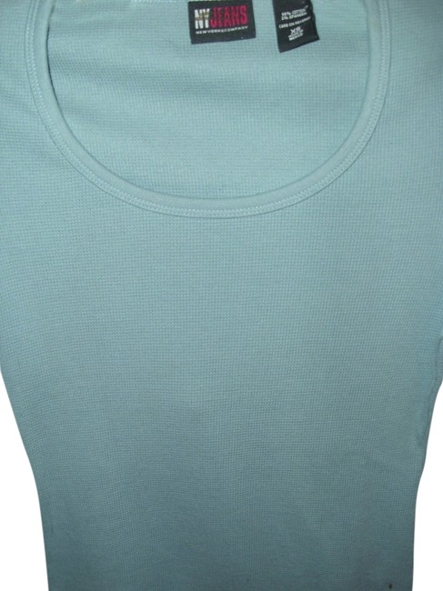 New York Jeans Company Bodycon Sporty Textured 3/4 Elbow Length T Shirt Blue