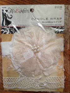 Ivory Lace & Flower Candle Wrap