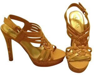 Guess Cork Tan Beige Leather Heel Taupe Sandals