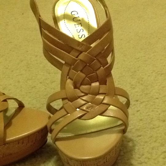 Guess Cork Beige Leather Heel Taupe Sandals