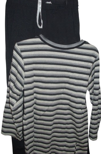 Jones New York Loungewear - Jones NY cotton leisure wear set dark grey leggin sweatpant & white striped long tunic pullover top