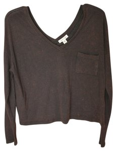 Silence + Noise V-neck Urban Outfitters Cropped Soft T Shirt Brown