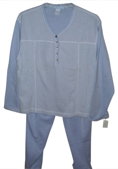 Sunday Brunch Loungewear - leisure wear 2 piece pajama set pant and pullover top in sky blue soft cozy warm sz small 60% cotton