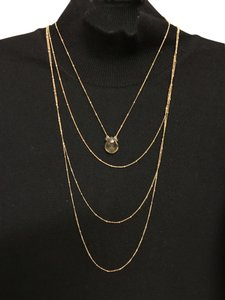 Unknown Jewelry Designer Beautiful Three-in-One Delicate Multi Layered 10K Gold Chains with Faceted Yellow Quartz / Citrine Pendant