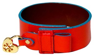 Tory Burch TORY BURCH Red Patent Saffiano Leather Alden Cuff