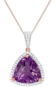 Victoria Townsend Victoria Townsend NWT Amethyst (8 ct. t.w.) and Diamond Accent Pendant Necklace in 18k Rose Gold over Sterling Silver