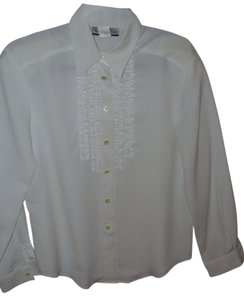 Notations Ruffle Vintage 80s 70s Chiffon Button Down Shirt Ivory