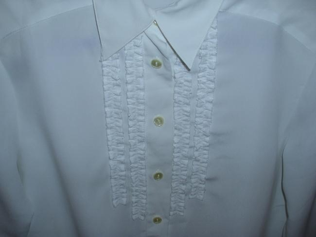 Notations Chiffon Pleated Longsleeve Blouse Button Down Shirt Ivory