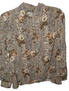 Notations Beige Hue Rose Floral Button Down Shirt Brown