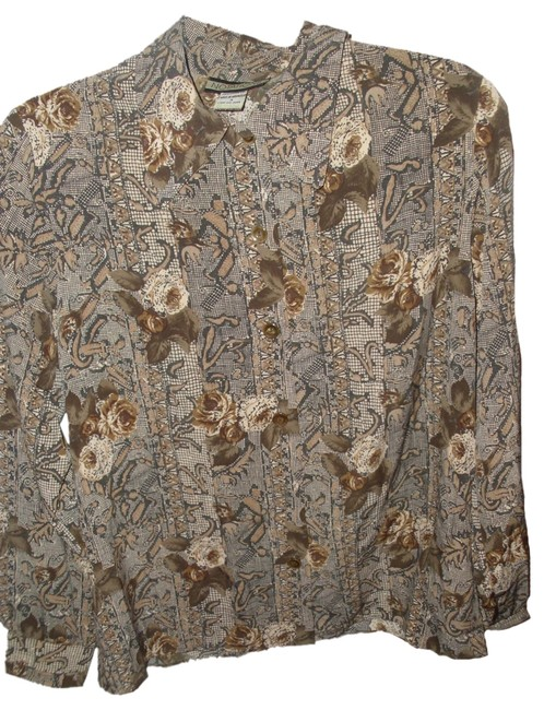 Notations Vintage Floral 70s Retro Longsleeve Button Down Shirt Brown