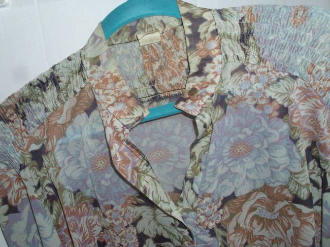 Other Retro Sheer Floral Grey Draped Tunic