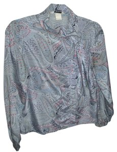 Alice Stewart Paisley Hippie Boho Bow Satin Top Grey