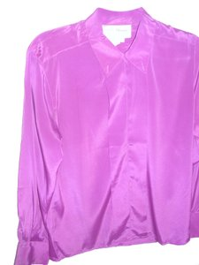 Krishna Alexander Long Sleeve Button Down Work Wrinkle Resistent Vintage Top Purple