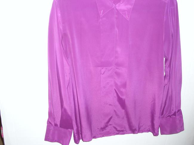 Krishna Alexander Long Sleeve Button Down Wrinkle Resistent Vintage Top Purple