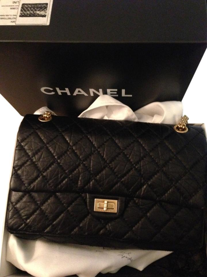 e28b754f7da1 Chanel 2.55 Reissue Classic Flap 226 with Gold Hardware Rare Find Black  Leather Shoulder Bag