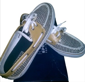 Sperry Sequins White Flats