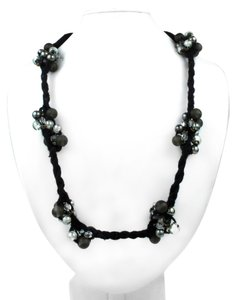 Brunello Cucinelli BRUNELLO CUCINELLI NECKLACE - NEW - BLACK ROPE TIE BEADED CLUSTERS