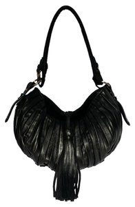 Paolo Masi Leather Pleated With Tassel Gold Hardware Made In Italy Hobo Bag