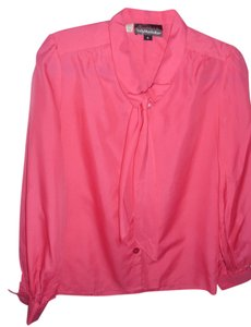 Lady Manhattan Bow Tie Longsleeve Work Blouse Vintage Pretty Button Down Shirt pink