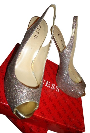 Guess Multi color Glitter and gold Pumps