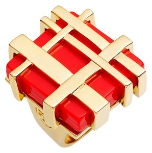 Tory Burch Tory Burch Gold Gingham Cocktail Ring
