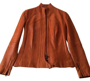 Roland Mouret Unique Small Burnt Orange Leather Jacket