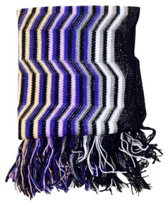 Missoni Missoni Black And Purple Multi Color Zig Zag Print Knit Scarf New