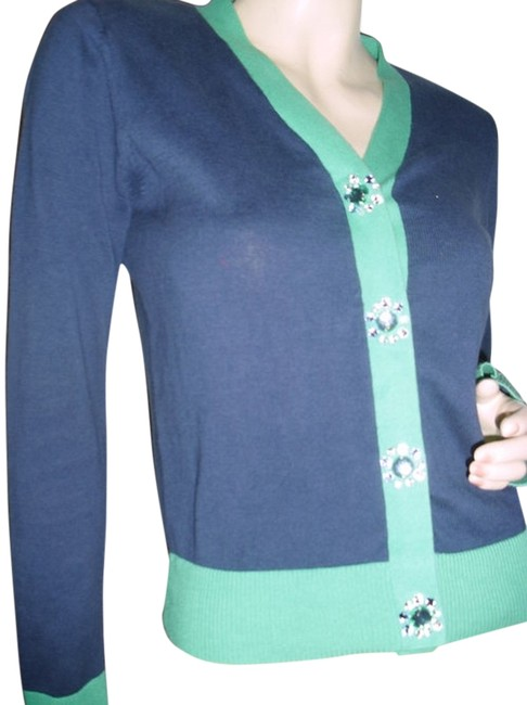 Item - Jewel Buttons Blue/Green Fashionista Style Boutique Emerald Green & Blue Sweater