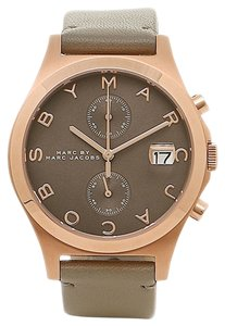 Marc Jacobs Marc By Marc Jacobs Women's The Slim Taupe Leather Rose Gold Stainless Steel Chronograph Watch MBM1397