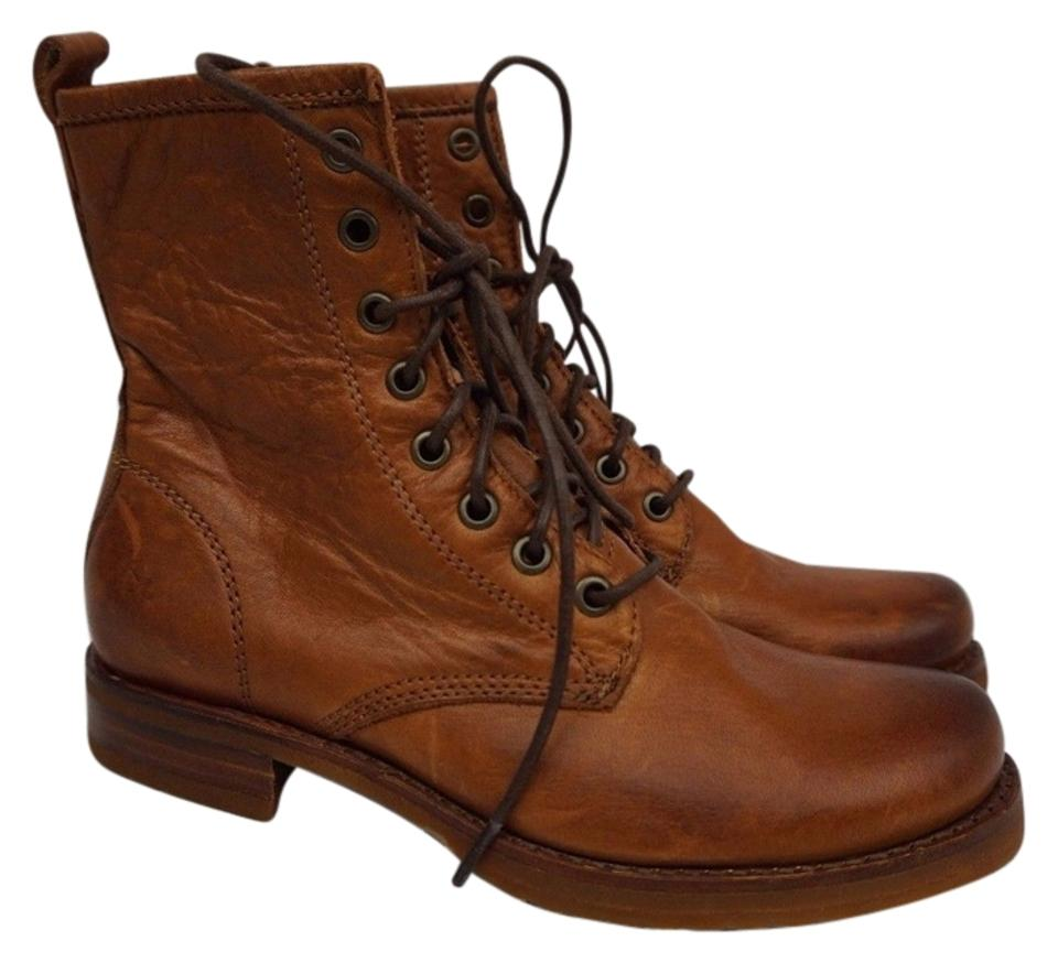 4749b6d116ce5 Frye Whiskey Tan Veronica Combat Brown Leather Women s Boots Booties ...