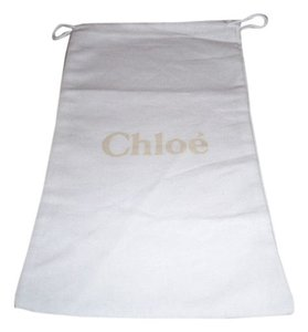 Chlo Brand New Chloe' Sleeper/ Dust Bag or Protective Cover White cotton with Tan logo Size 9 width x 14 Length. Drawstring Bag